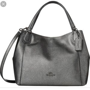 Gunmetal Leather Edie Shoulder Bag